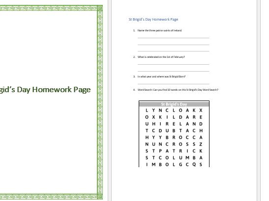 St Brigids Day Homework Page