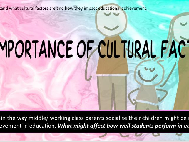 GCSE sociology [WJEC/ EDUQAS]- introduction to cultural factors.