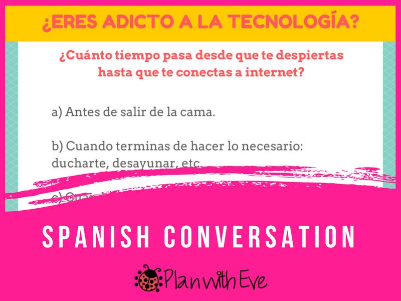 Spanish: ¿Eres adicto a la tecnología? / Encuesta + tarjetas de conversación!