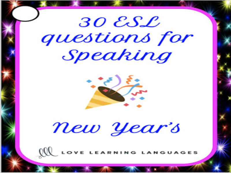 New Year's vocabulary - 30 ESL - ELL New Year's speaking prompt cards