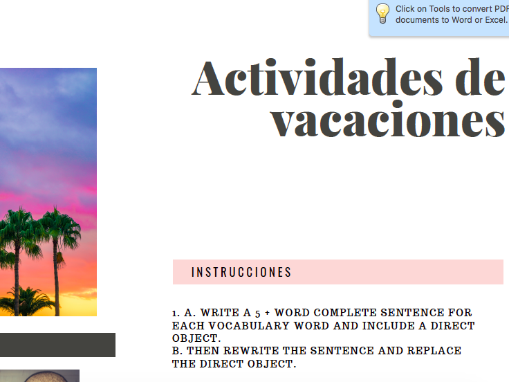 Travel and Vacation Worksheet (Spanish)