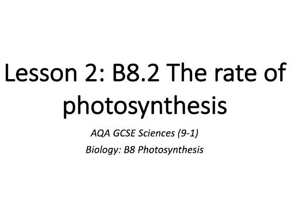 B8.2 The rate of photosynthesis