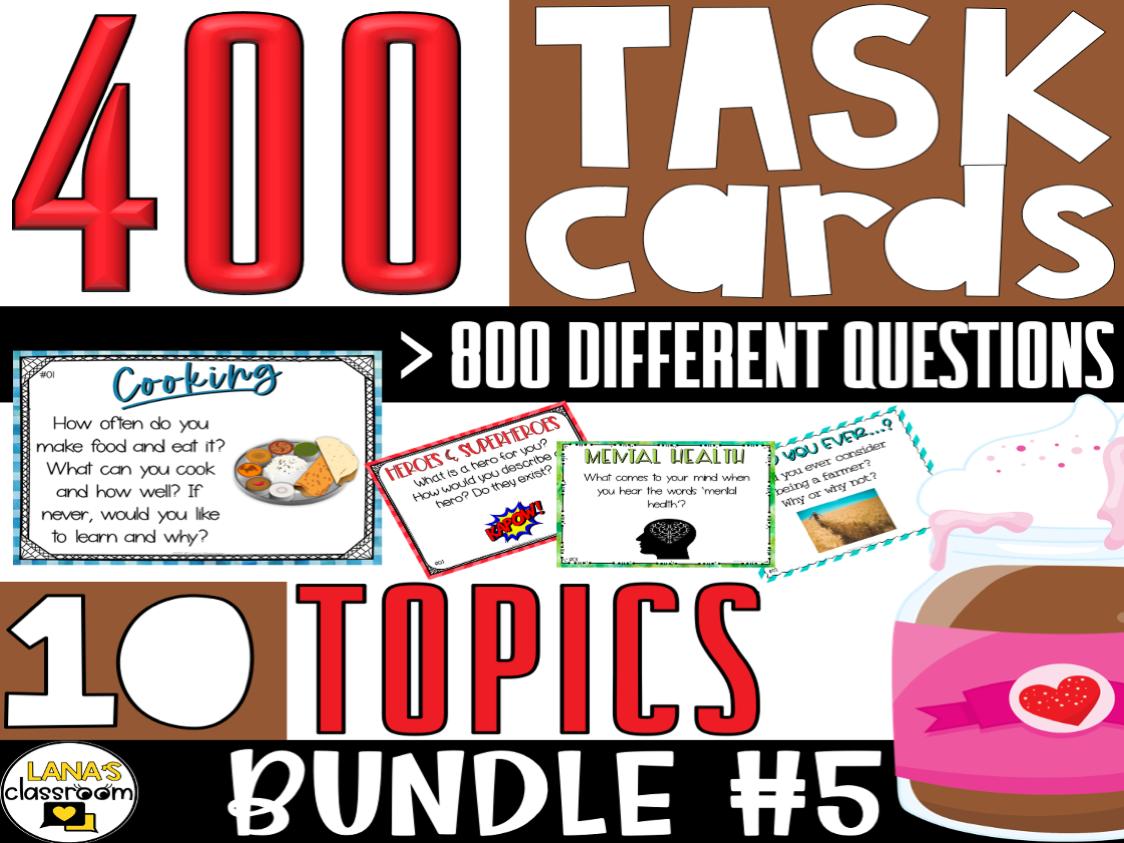 Conversation Starter Task Cards   BUNDLE#5   For Middle & High School
