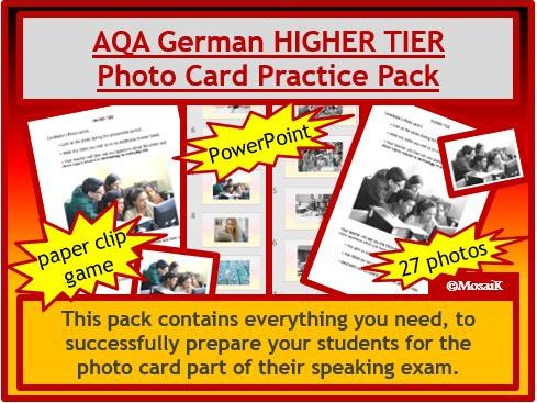 AQA German GCSE photo card HIGHER pack
