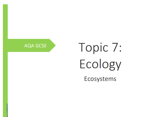 AQA GCSE Biology Topic 7 Ecosystems. Consolidation/Revision Booklet.