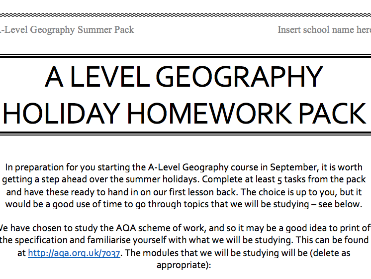 Summer homework pack - Geography A-Level (AQA) (preparation for geography A-level)