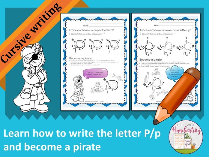 Learn how to write the letter P (Cursive style) and become a pirate