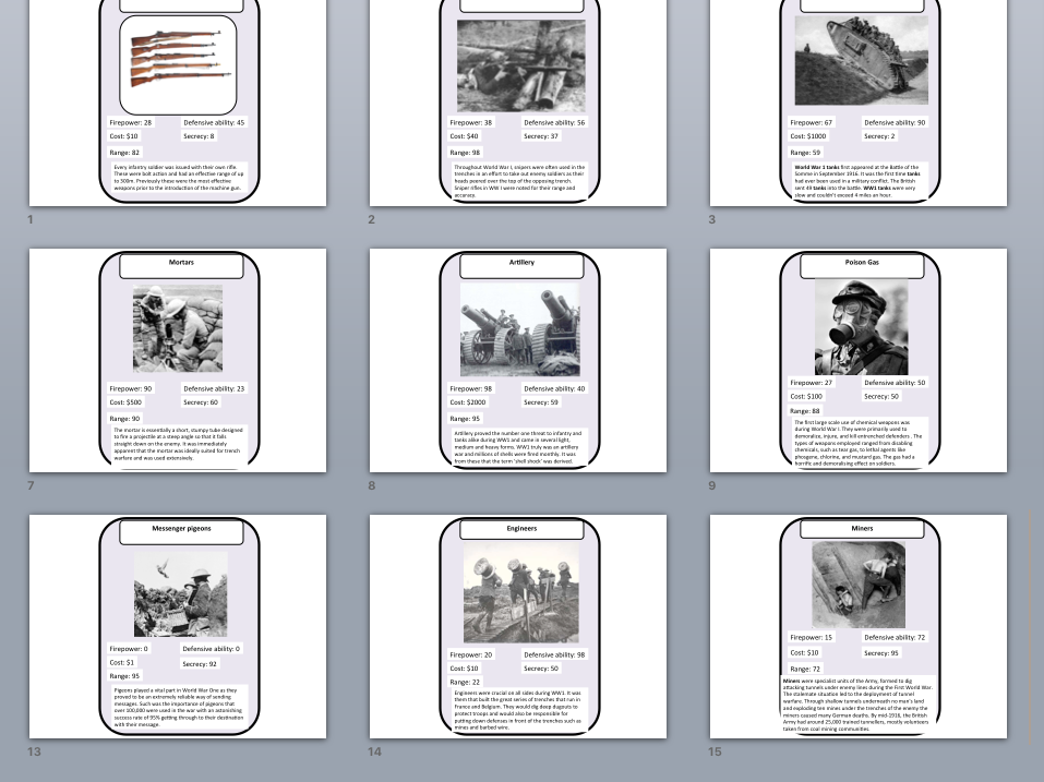 World War I weapons Top trumps