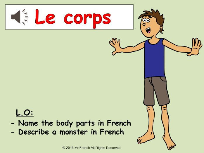 Le corps (French body parts) 4 lessons! Y5  4th Grade