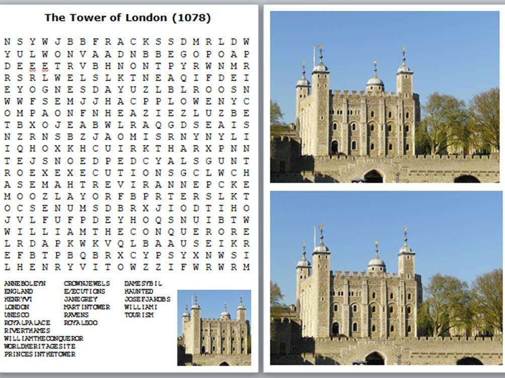 London Landmarks Word Search Pack