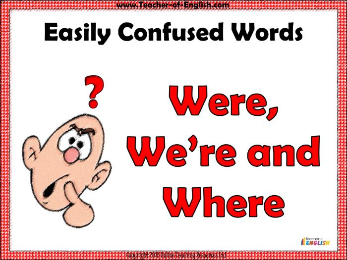 Were, We're and Where (PowerPoint and worksheets)