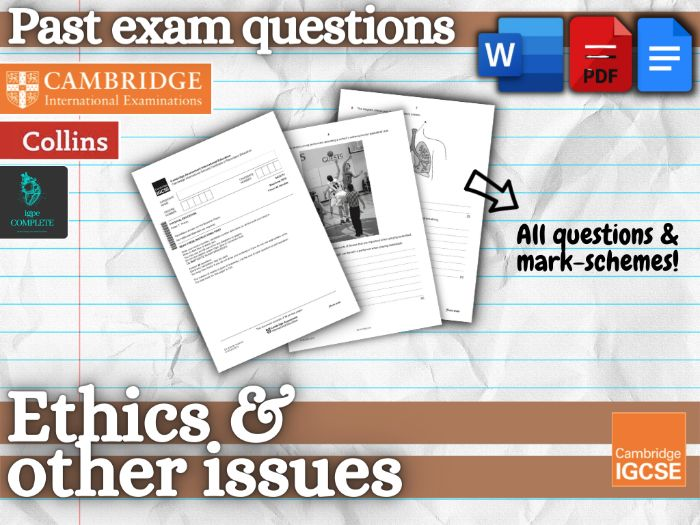 IGCSE PE - PAST EXAM QUESTIONS and mark schemes - CHAPTER 11 (Ethics and Other Issues)