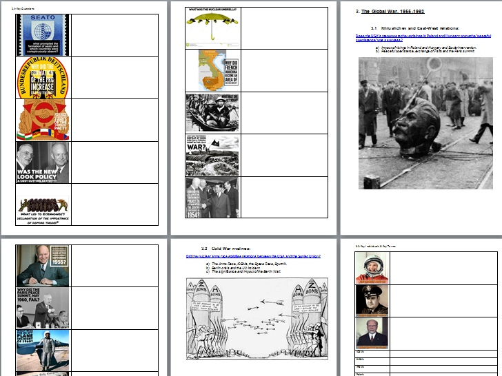 AQA A-Level History The Cold War Option C Y12 Key Questions, Terms and Individuals Work Booklet