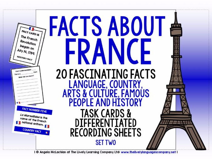 PRIMARY FRENCH - 20 FACTS TASK CARDS, RECORDING SHEETS, DISCUSSION ACTIVITY (2)