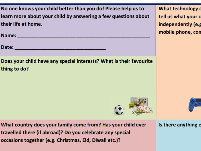 EYFS Parent Questionnaire for Learning Journals