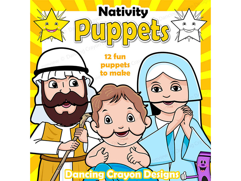Christmas Craft Activity | Holiday Printable Paper Bag Nativity Puppets