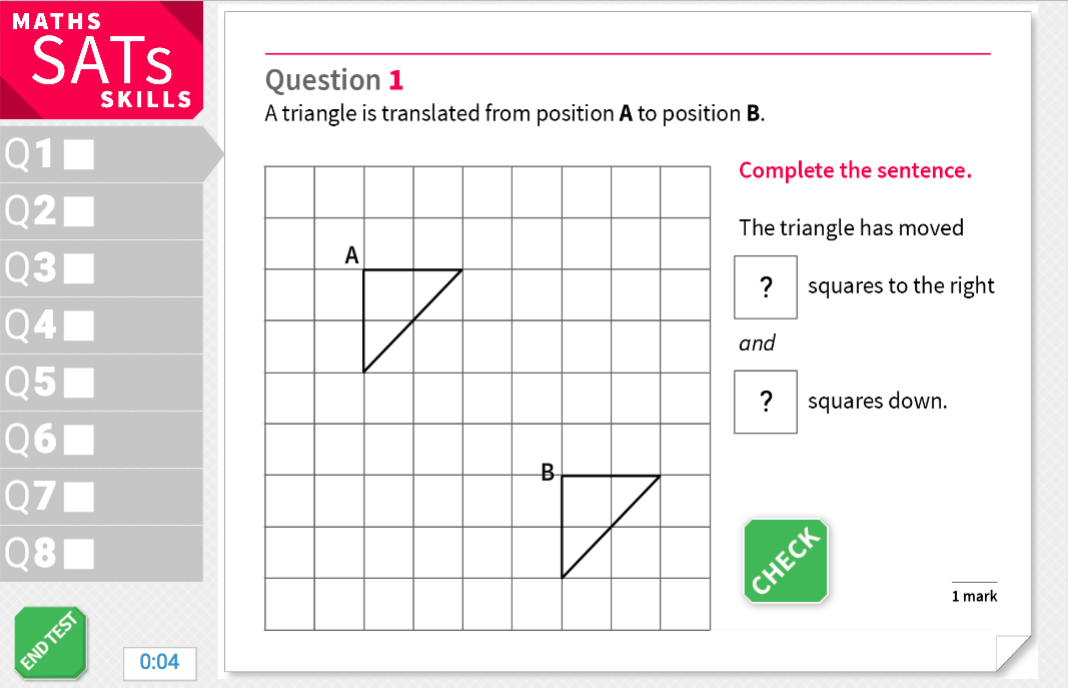 Describe translations of shapes - KS2 Maths Sats Reasoning - Interactive Exercises