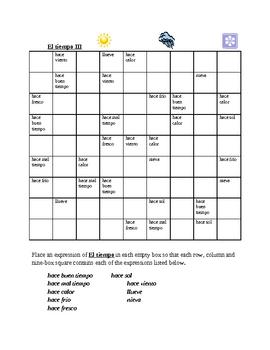 Tiempo (Weather in Spanish) Sudoku