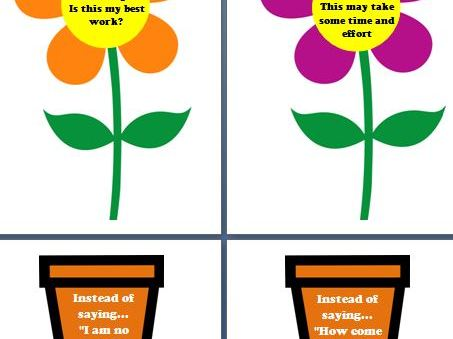Grow your mindset plants and pots flowers growth mindset display
