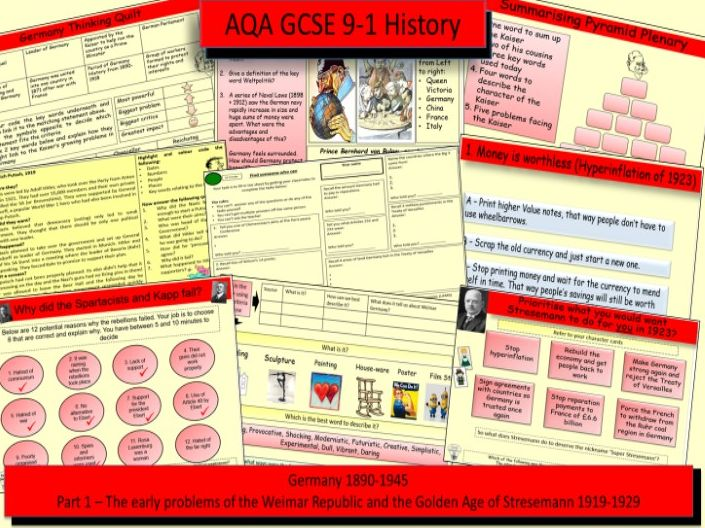 AQA GCSE 9-1 History, Germany 1890-1945: Democracy and Dictatorship Part 1