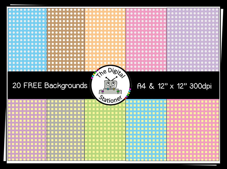 """FREE Digital Paper [Backgrounds] DOTS & SQUARES - A4 and 12"""" x 12"""""""