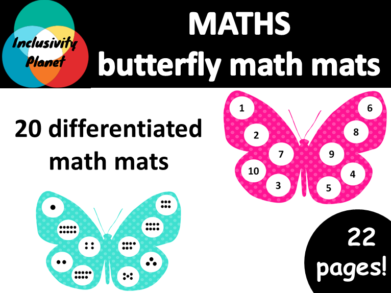 Butterfly MATH MATS differentiated numbers and counting 1-10