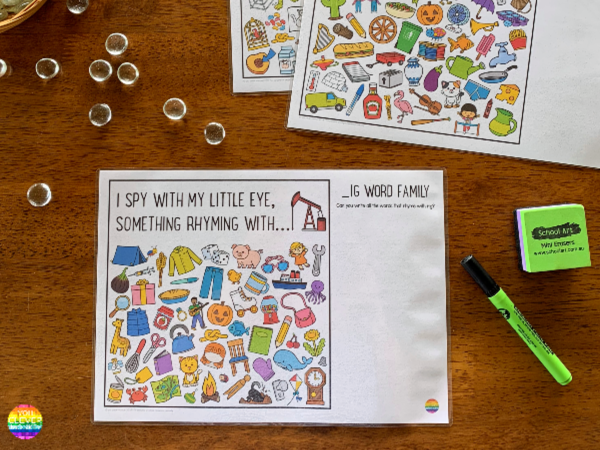 Rhyming Short Vowel Sound Word Family I Spy Mats - IG/IN/IT Pack