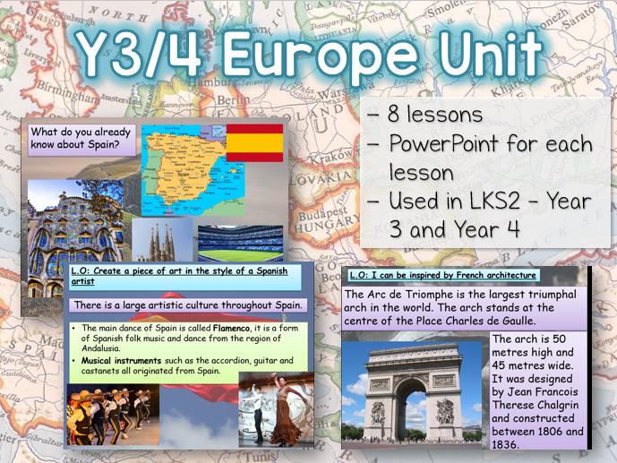Y3 / Y4 Europe Geography Unit - 8 lessons