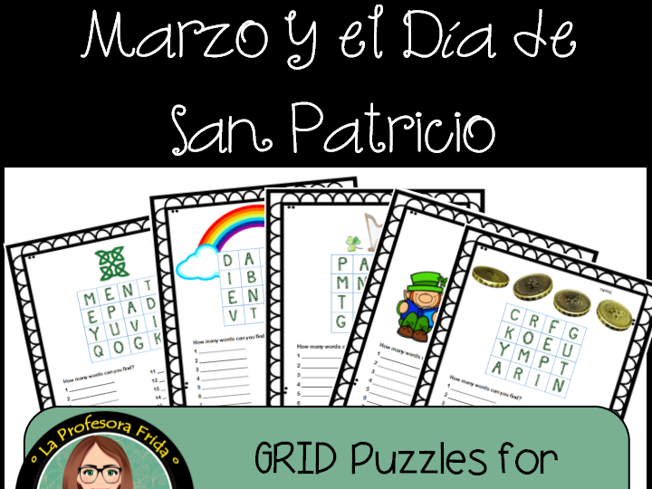 March & St. Patrick's Day Puzzles!  5 Word Puzzles in grids (Boggle)