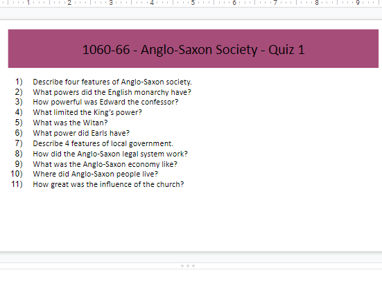 GCSE HISTORY Anglo-Saxons/Normans Revision Quizzes Booklet for Teachers & Students