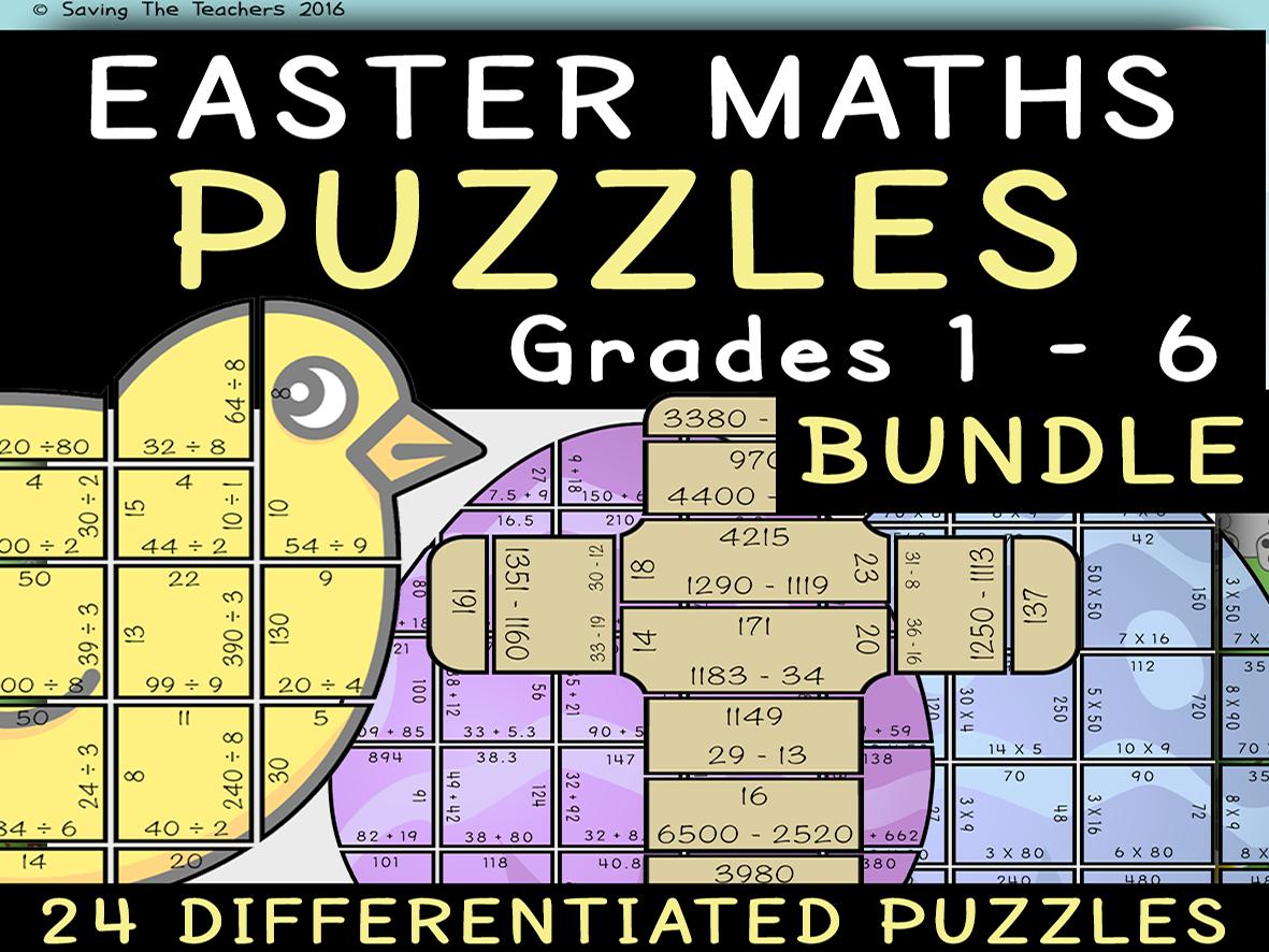 Easter Maths Puzzles Grades 1 - 6 Bundle
