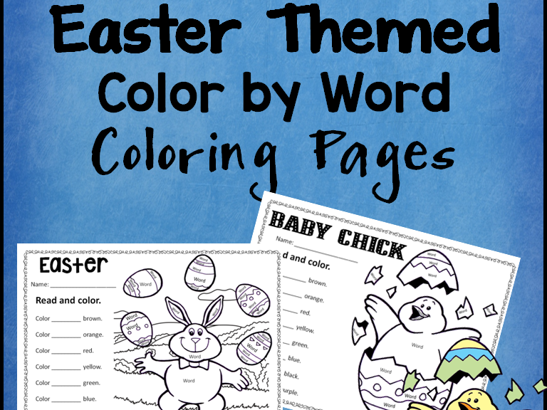 Easter Rabbit and Chick Color the Word Activity Sheets *Editable*