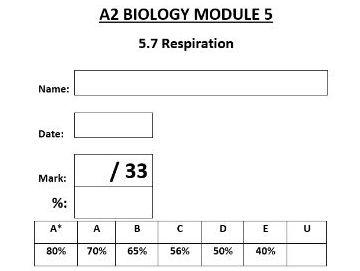 Biology Respiration A-Level - KS5 Test with Mark Scheme