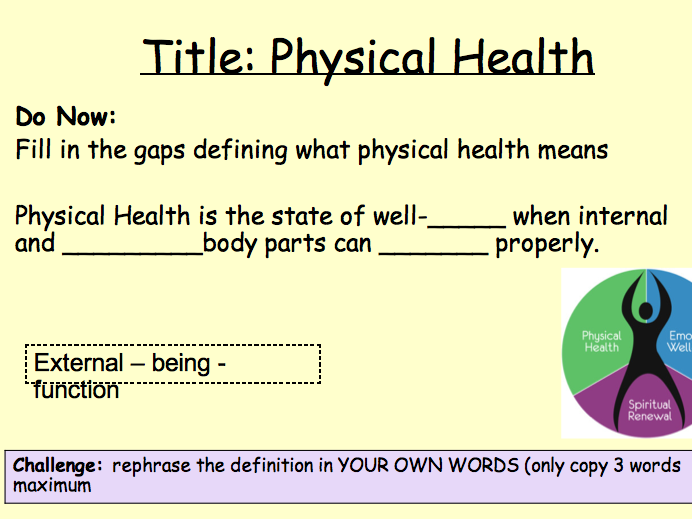 PSHE Health - physical health lesson 1