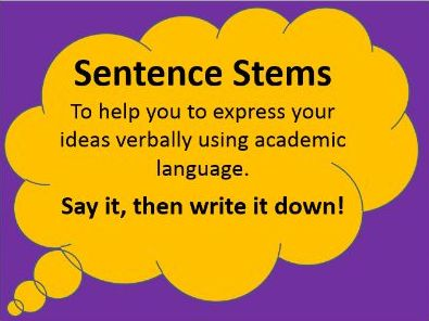 Sentence Stems Display - For speaking and writing - 65 Slides