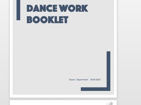 Year 7/ Year 8  Dance Workbook