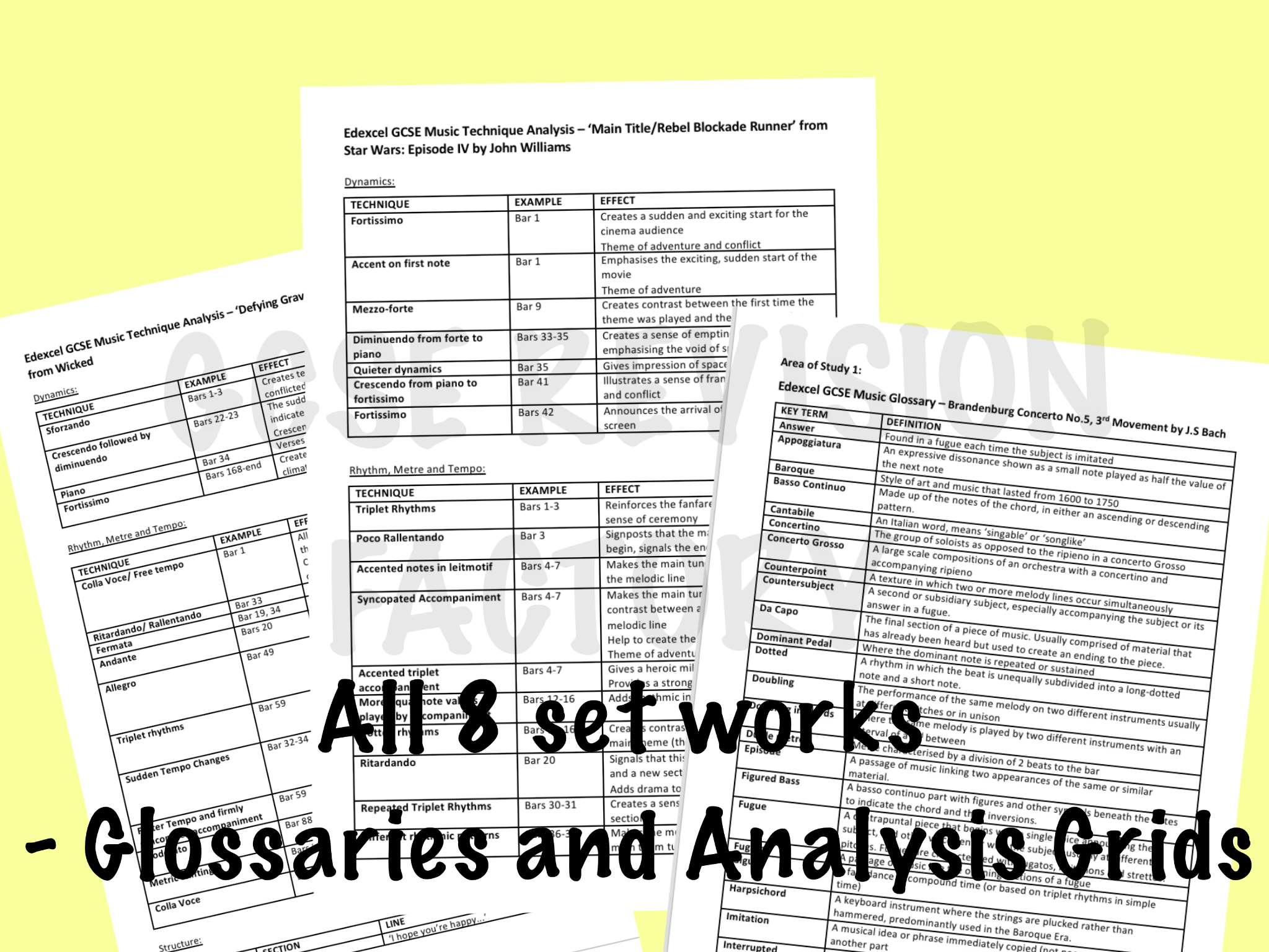 Edexcel GCSE 9-1 Music - ALL SET WORKS GLOSSARIES AND ANALYSIS GRIDS