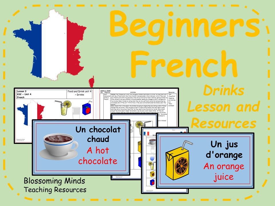 French lesson and resources - KS2 - Drinks