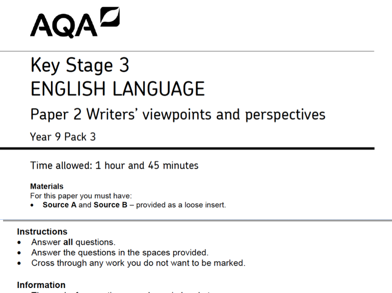 AQA ENGLISH LANGUAGE PAPER 2 UNIFORM THEME
