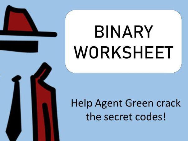 Binary worksheet - spy themed