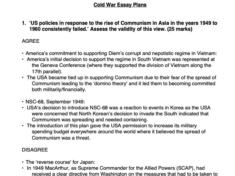 Three Cold War History Essay Plans A Level