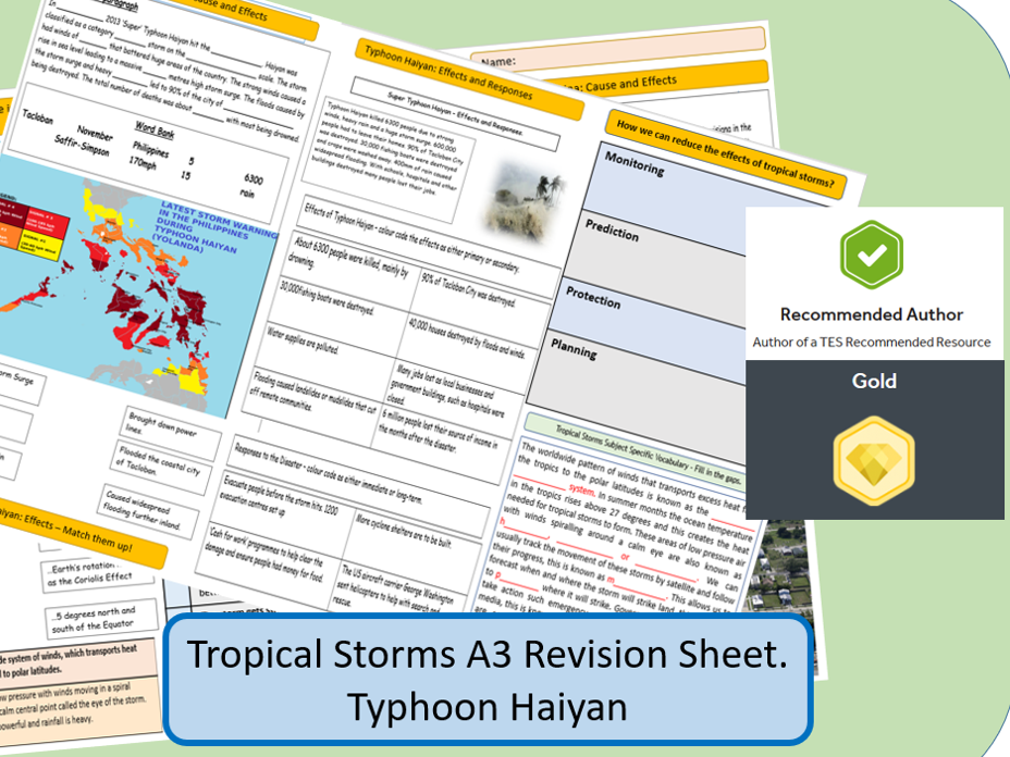 AQA GCSE 9-1 : Typhoon Haiyan, Tropical Storms, A3 Double Sided Revision Sheet.