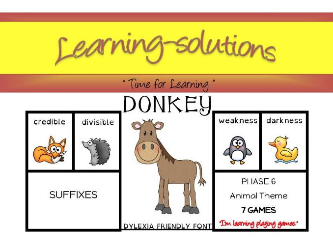 DONKEY CARD GAMES - Phase 6 - Suffixes - 6 games