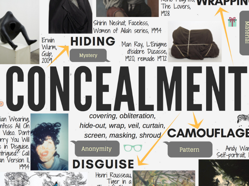 CONCEALMENT - GCSE ART theme mind-map interactive with artist links