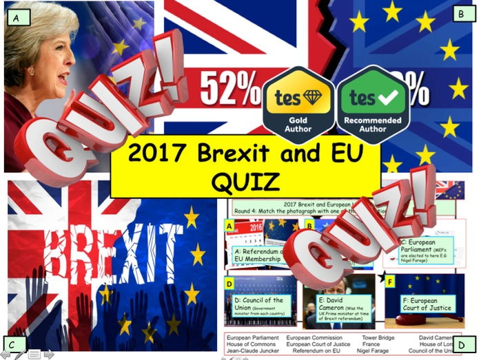 2017 Brexit and European Union EU News Quiz 7rounds and 40 Questions. End of Term Quiz Citizenship.