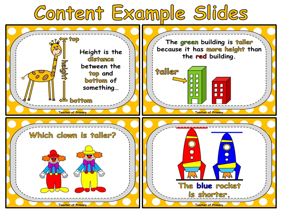Taller or Shorter - PowerPoint presentation and worksheets