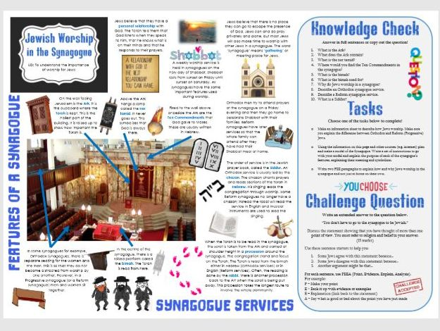 Jewish Worship in the Synagogue - Task Mat