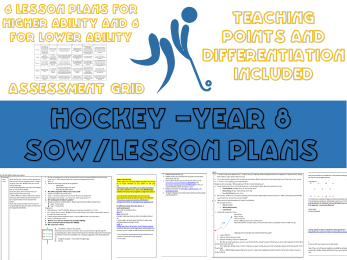 Year 8 Hockey schemes of work / Lesson plans (with resources included)