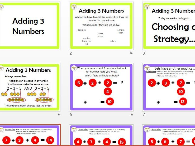 Adding 3 Numbers (choose a strategy)