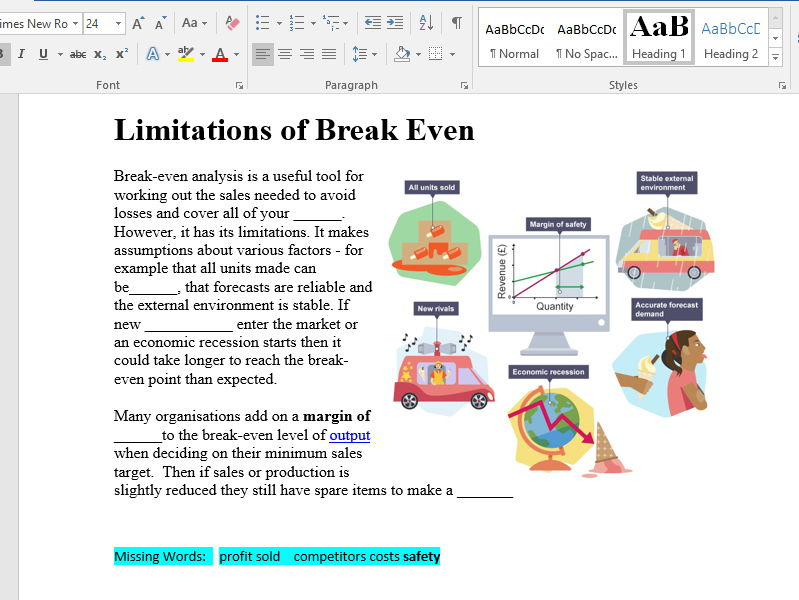 Break Even Analysis Starter, Activity And Test Yourself Exam Questions for Level 2 GCSE and BTEC Fin